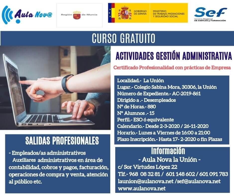 Curso gratis del SEF Actividades de gestión administrativa