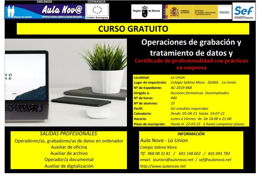 Curso SEF.- Operaciones de Grabación y tratamiento de datos y documentos.