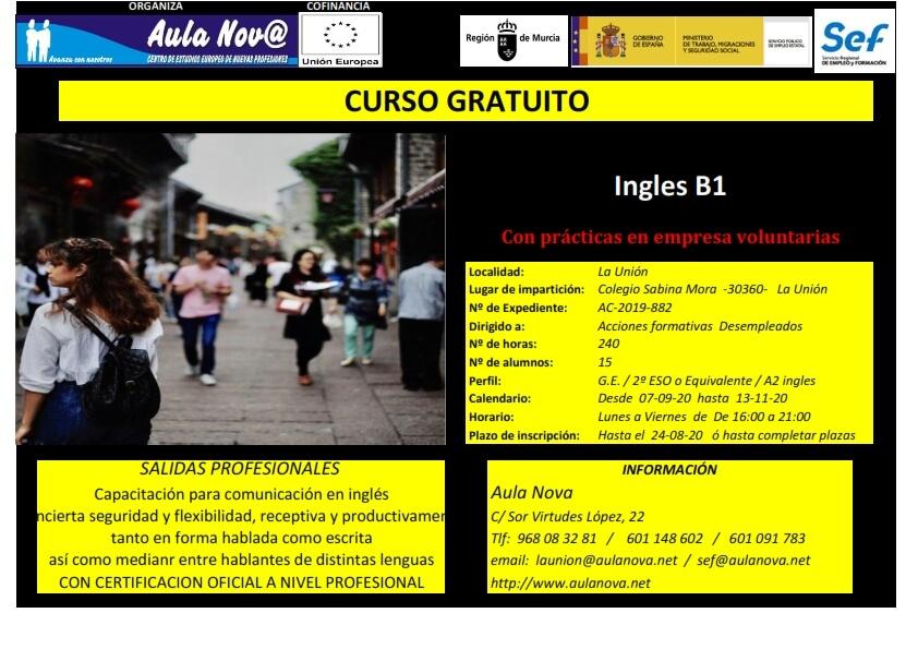 Preparación exámen oficial Inglés b1 empieza el 7 de septiembre 2020